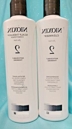 Nioxin 2 Thin Fine Hair SHAMPOO CONDITIONER SET Cleanser Sca