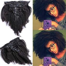 10inch Afro Kinky Curly Clip in Human Hair Extensions Brazil