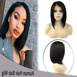10 Inch Bob Lace Front Wigs Virgin Human Hair Short Straight