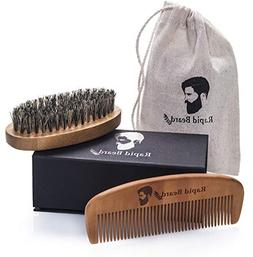 Beard Brush and Beard Comb kit for Men Grooming, Styling & S