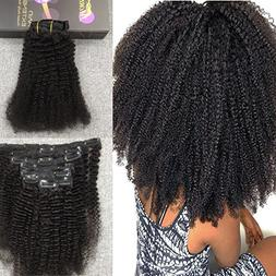 Moresoo 16 Inch Deep Curly Afro Curl Clip on Remy Hair Exten