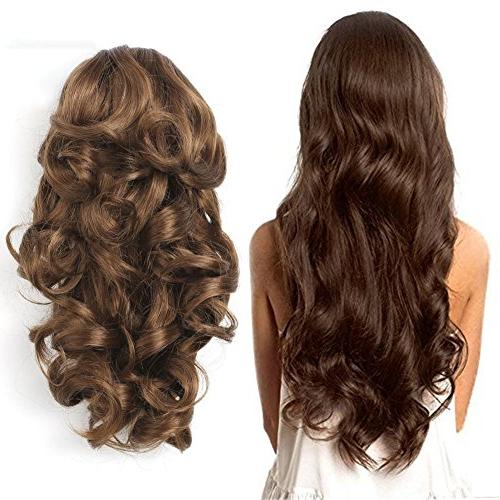 clip synthetic hair extension wavy