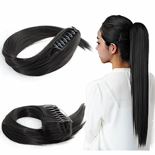 long straight synthetic ponytail hair