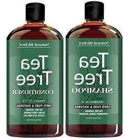 Tea Tree Oil Shampoo and Conditioner Set by Natural Riches -