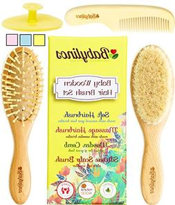 4 Piece Baby Hair Brush Set with Natural Hair Products: Baby